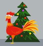 Κόκκινοι κόκκορας και χριστουγεννιάτικο δέντρο ελεύθερη απεικόνιση δικαιώματος