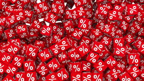 Κόκκινοι κύβοι συμβόλων ποσοστού που πέφτουν και που γεμίζουν το υπόβαθρο ελεύθερη απεικόνιση δικαιώματος