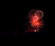 Κόκκινοι κύκλοι fireworks spectacular Στοκ εικόνα με δικαίωμα ελεύθερης χρήσης