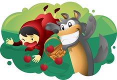 Κόκκινοι οδηγώντας κουκούλα και λύκος Διανυσματική απεικόνιση