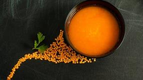 Κόκκινοι σούπα και μαϊντανός φακών Στοκ εικόνες με δικαίωμα ελεύθερης χρήσης