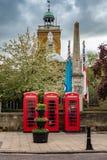 Κόκκινοι τηλεφωνικοί θάλαμοι Νόρθαμπτον UK Στοκ Εικόνες