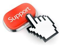 Κόκκινοι υποστήριξη κουμπιών και δρομέας χεριών Στοκ Εικόνες