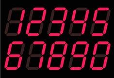 Κόκκινοι ψηφιακοί αριθμοί 0 - 9 στο άσπρο υπόβαθρο Επίπεδο ύφος κόκκινο ψηφιακό εικονίδιο αριθμών για το σχέδιο ιστοχώρου σας, λο ελεύθερη απεικόνιση δικαιώματος