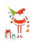 Κόκκινος Άγιος Βασίλης με το δέντρο και τα δώρα cristmas διανυσματική απεικόνιση