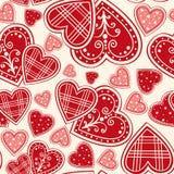 κόκκινος άνευ ραφής καρδιών ανασκόπησης Στοκ Εικόνες