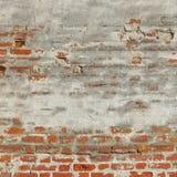 Κόκκινος άσπρος εκλεκτής ποιότητας χρωματισμένος τούβλο τοίχος με το χαλασμένο ασβεστοκονίαμα Στοκ εικόνες με δικαίωμα ελεύθερης χρήσης