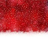 Κόκκινος άσπρος χειμώνας, υπόβαθρο Χριστουγέννων με τα σύνορα νιφάδων χιονιού Στοκ φωτογραφία με δικαίωμα ελεύθερης χρήσης