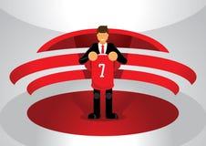 Κόκκινος αθλητισμός ομάδων που ανοίγει το νέο παίκτη Στοκ εικόνα με δικαίωμα ελεύθερης χρήσης