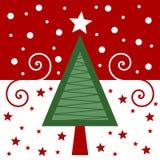 κόκκινος αναδρομικός Χριστουγέννων καρτών διανυσματική απεικόνιση