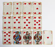 Κόκκινος αριθμός καρδιών διασκέδασης παιχνιδιών παιχνιδιού καρτών Στοκ φωτογραφία με δικαίωμα ελεύθερης χρήσης