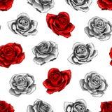 Κόκκινος αυξήθηκε άνευ ραφής σχέδιο στοιχείων περιγράμματος ανθοδεσμών λουλουδιών στο άσπρο υπόβαθρο απεικόνιση αποθεμάτων