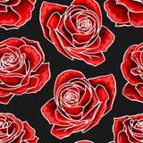 Κόκκινος αυξήθηκε άνευ ραφής σχέδιο στοιχείων περιγράμματος ανθοδεσμών λουλουδιών στο σκοτεινό υπόβαθρο απεικόνιση αποθεμάτων