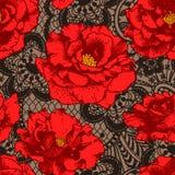 Κόκκινος αυξήθηκε, άνευ ραφής σχέδιο δαντελλών Στοκ Εικόνα