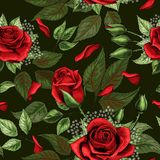 Κόκκινος αυξήθηκε ανθοδέσμες και πράσινο σχέδιο στοιχείων φύλλων άνευ ραφής διανυσματική απεικόνιση