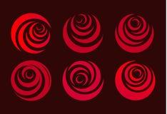 Κόκκινος αυξήθηκε, αφηρημένο τυποποιημένο πέταλο λουλουδιών Μορφή κύκλων, σύνολο λογότυπων η αγάπη ανασκόπησης κόκκινη αυξήθηκε λ απεικόνιση αποθεμάτων