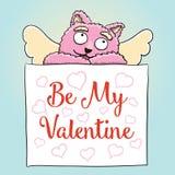 κόκκινος αυξήθηκε Η χαριτωμένη ρόδινη γάτα Cupid με είναι η αφίσα βαλεντίνων μου Στοκ φωτογραφία με δικαίωμα ελεύθερης χρήσης