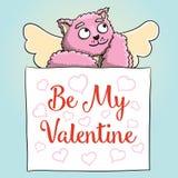 κόκκινος αυξήθηκε Η χαριτωμένη ρόδινη γάτα Cupid με είναι η αφίσα βαλεντίνων μου Στοκ εικόνα με δικαίωμα ελεύθερης χρήσης