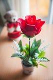 Κόκκινος αυξήθηκε και αντέχει την κούκλα Στοκ Εικόνες