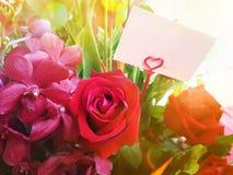 Κόκκινος αυξήθηκε και λουλούδια, ανθοδέσμη λουλουδιών με το κενό σημειωματάριο Στοκ εικόνα με δικαίωμα ελεύθερης χρήσης