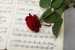 Κόκκινος αυξήθηκε και παλαιά μουσική φύλλων σημειώσεων Στοκ φωτογραφία με δικαίωμα ελεύθερης χρήσης