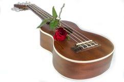 Κόκκινος αυξήθηκε και ukulele στοκ εικόνα
