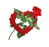 Κόκκινος αυξήθηκε λουλούδι και ακτινοβολεί καρδιά Στοκ φωτογραφίες με δικαίωμα ελεύθερης χρήσης