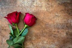 Κόκκινος αυξήθηκε στο σκουριασμένο υπόβαθρο άνδρας αγάπης φιλιών έννοιας στη γυναίκα Στοκ Εικόνα