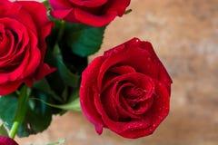 Κόκκινος αυξήθηκε στο σκουριασμένο υπόβαθρο άνδρας αγάπης φιλιών έννοιας στη γυναίκα Στοκ Φωτογραφία
