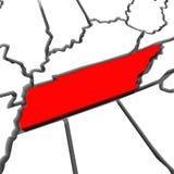 Κόκκινος αφηρημένος τρισδιάστατος κρατικός χάρτης του Τένεσι Ηνωμένες Πολιτείες Αμερική Στοκ Φωτογραφία