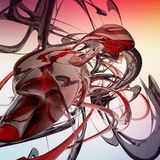 Κόκκινος αφηρημένος υγρός τρισδιάστατος κυμάτων που δίνεται απεικόνιση αποθεμάτων
