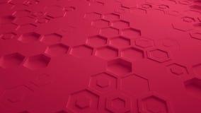 Κόκκινος αφηρημένος Hexagon γεωμετρικός άνευ ραφής βρόχος 4K UHD επιφάνειας Μπροστινή όψη διανυσματική απεικόνιση