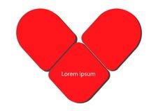 κόκκινος βαλεντίνος κειμένων καρδιών Στοκ εικόνα με δικαίωμα ελεύθερης χρήσης