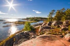 Κόκκινος βράχος στον της Γεωργίας κόλπο Οντάριο Καναδάς Στοκ Εικόνες