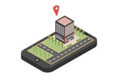 Κόκκινος δείκτης στο χάρτη smartphone Έννοια ναυσιπλοΐας ΠΣΤ Isometric διανυσματική απεικόνιση - διάνυσμα στοκ φωτογραφίες