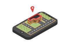 Κόκκινος δείκτης στο χάρτη smartphone Έννοια ναυσιπλοΐας ΠΣΤ Isometric διανυσματική απεικόνιση - διάνυσμα στοκ φωτογραφία με δικαίωμα ελεύθερης χρήσης