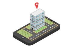 Κόκκινος δείκτης στο χάρτη smartphone Έννοια ναυσιπλοΐας ΠΣΤ Isometric διανυσματική απεικόνιση - διάνυσμα στοκ εικόνες με δικαίωμα ελεύθερης χρήσης