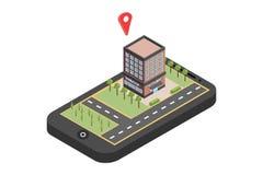 Κόκκινος δείκτης στο χάρτη smartphone Έννοια ναυσιπλοΐας ΠΣΤ Isometric διανυσματική απεικόνιση - διάνυσμα στοκ εικόνα με δικαίωμα ελεύθερης χρήσης