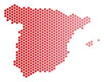 Κόκκινος διαστιγμένος χάρτης της Ισπανίας διανυσματική απεικόνιση