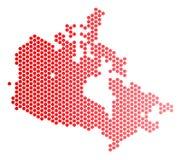 Κόκκινος διαστιγμένος χάρτης του Καναδά διανυσματική απεικόνιση