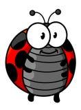 Κόκκινος επισημασμένος ladybug χαρακτήρας κινουμένων σχεδίων Στοκ Φωτογραφία