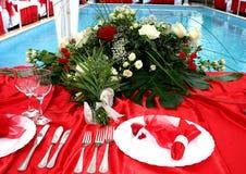 κόκκινος επιτραπέζιος γάμος Στοκ Φωτογραφίες