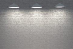 Κόκκινος εσωτερικός τοίχος πετρών με τους λαμπτήρες Στοκ Φωτογραφία