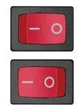 Κόκκινος διακόπτης δύναμης μέσα επάνω από τη θέση, μεγάλη λεπτομερής απομονωμένη μακρο κινηματογράφηση σε πρώτο πλάνο στοκ εικόνες