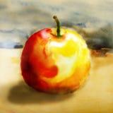 Κόκκινος - κίτρινο μήλο σε ένα κρύο υπόβαθρο Στοκ εικόνα με δικαίωμα ελεύθερης χρήσης