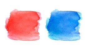 Κόκκινος και μπλε λεκές Watercolor Στοκ Φωτογραφία