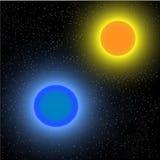 Κόκκινος και μπλε πλανήτης Στοκ φωτογραφία με δικαίωμα ελεύθερης χρήσης