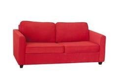 Κόκκινος καναπές υφάσματος που απομονώνεται στο λευκό Στοκ Φωτογραφία