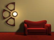κόκκινος καναπές Στοκ Φωτογραφίες