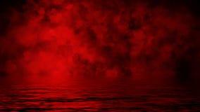 Κόκκινος καπνός με την αντανάκλαση στο νερό Υπόβαθρο επικαλύψεων σύστασης ομίχλης μυστηρίου : απεικόνιση αποθεμάτων
